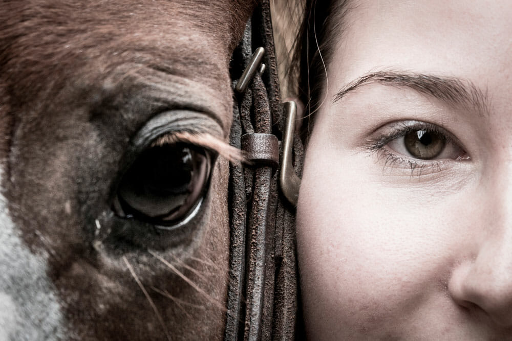 Girl and horse eyes close up