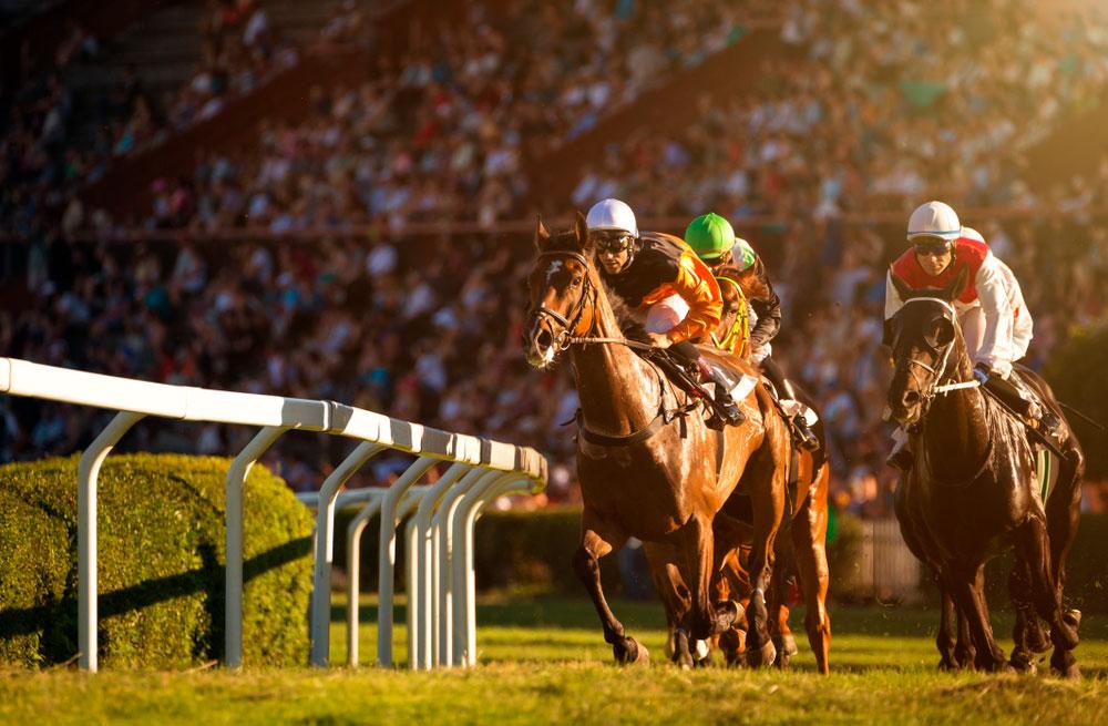 Jockeys reaching finish line