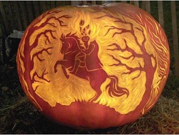 The Headless Horseman pumpkin curving