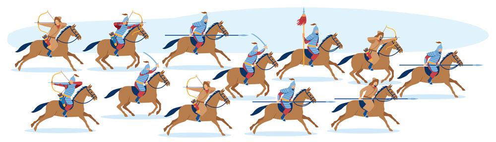 Turkic warriors on horses