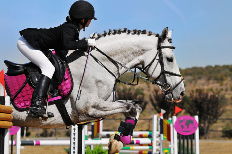 Young girl on horse in jumping show