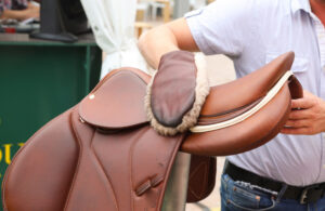 cleaning saddle with glove
