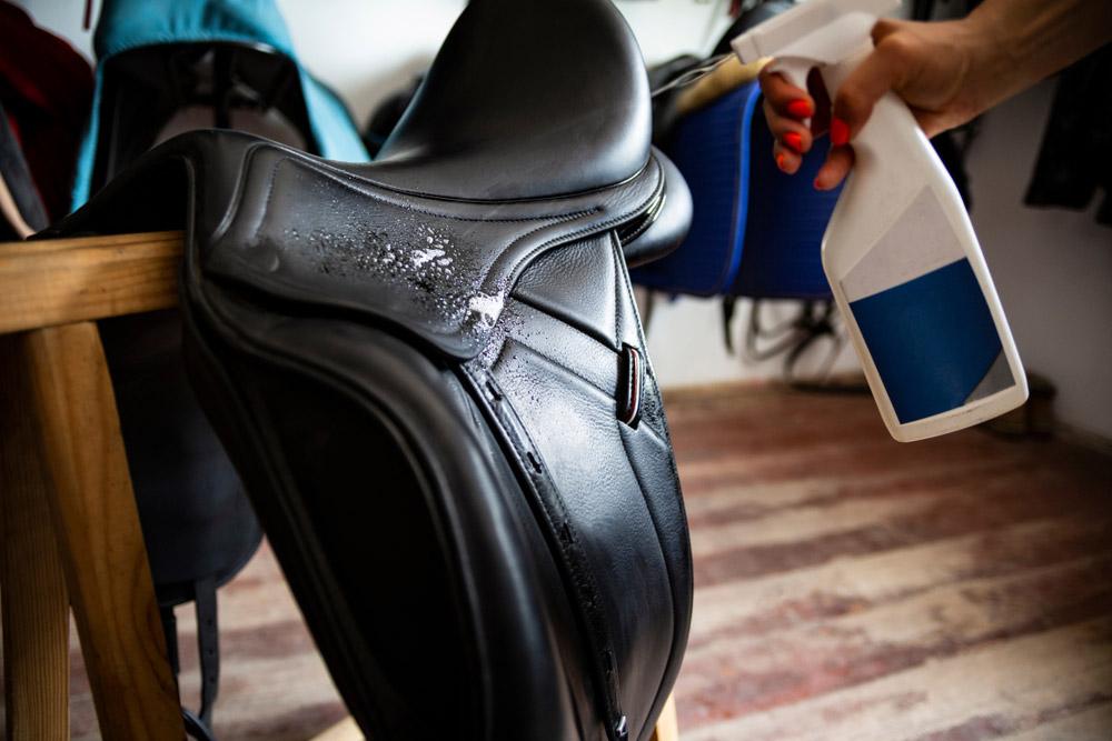 conditioning black leather saddle
