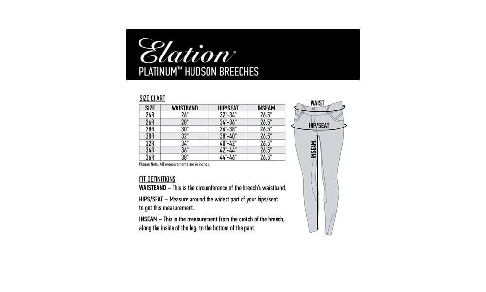 elation breeches size chart