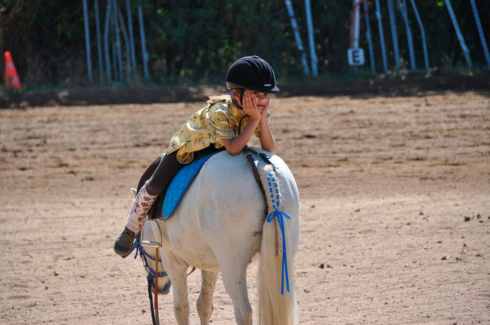 girl is posing on a horse