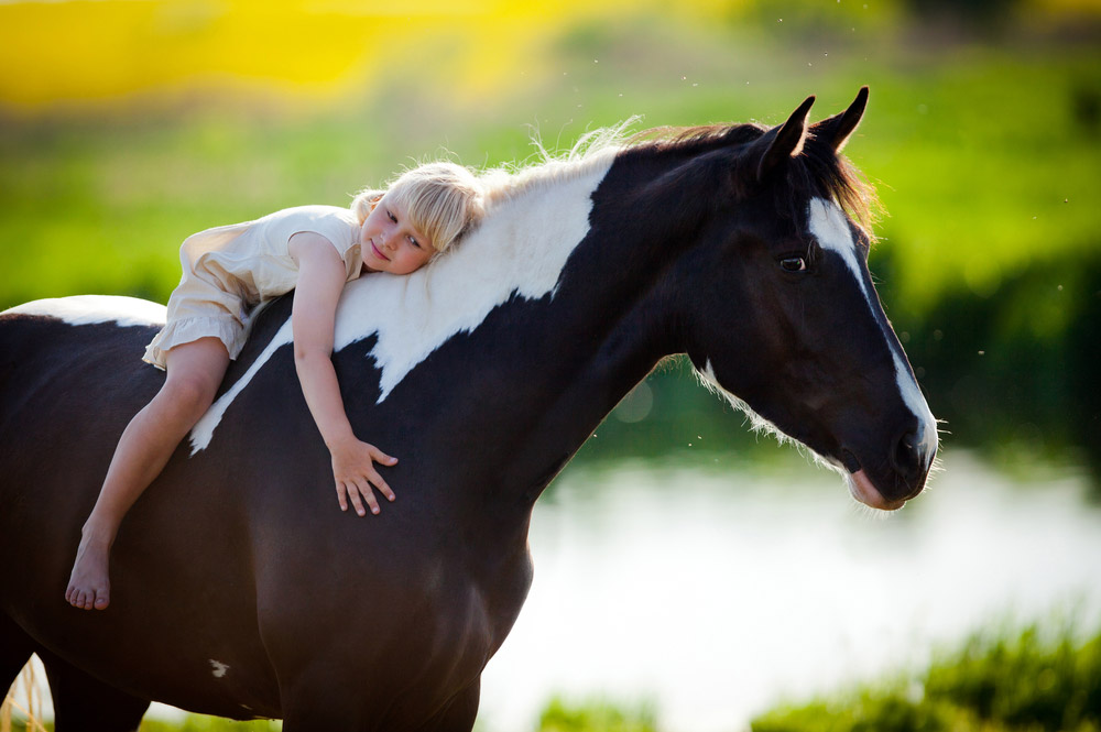 girl is resting on Paint Horse