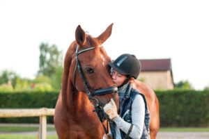 girl kissing her chestnut horse