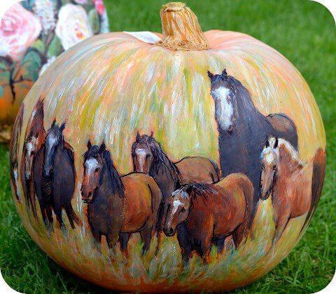 horse herd pumpkin painting