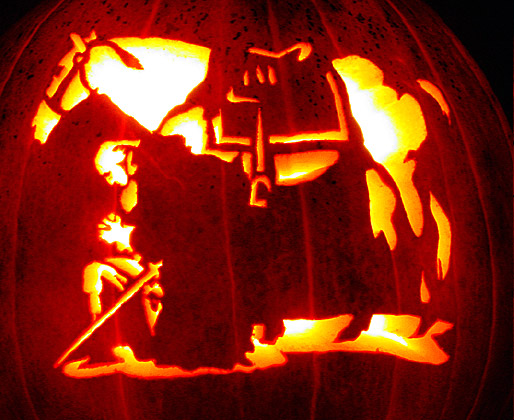 horseman and horse pumpkin curving