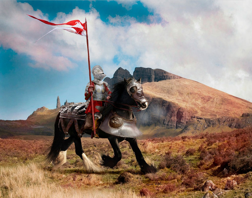 knight is riding Shire Horse