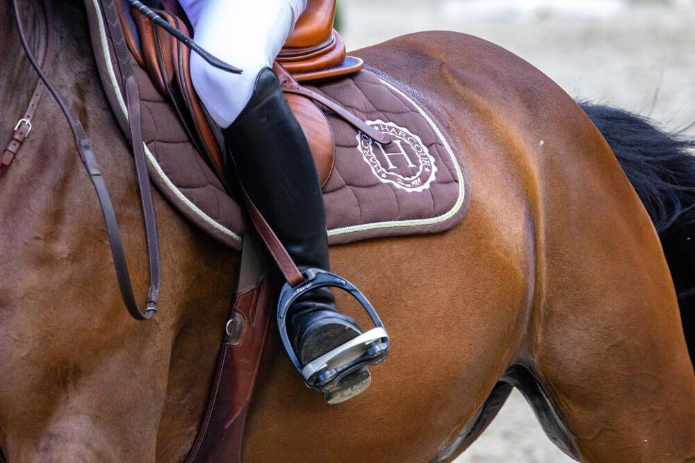 leather saddle with stirrups close up