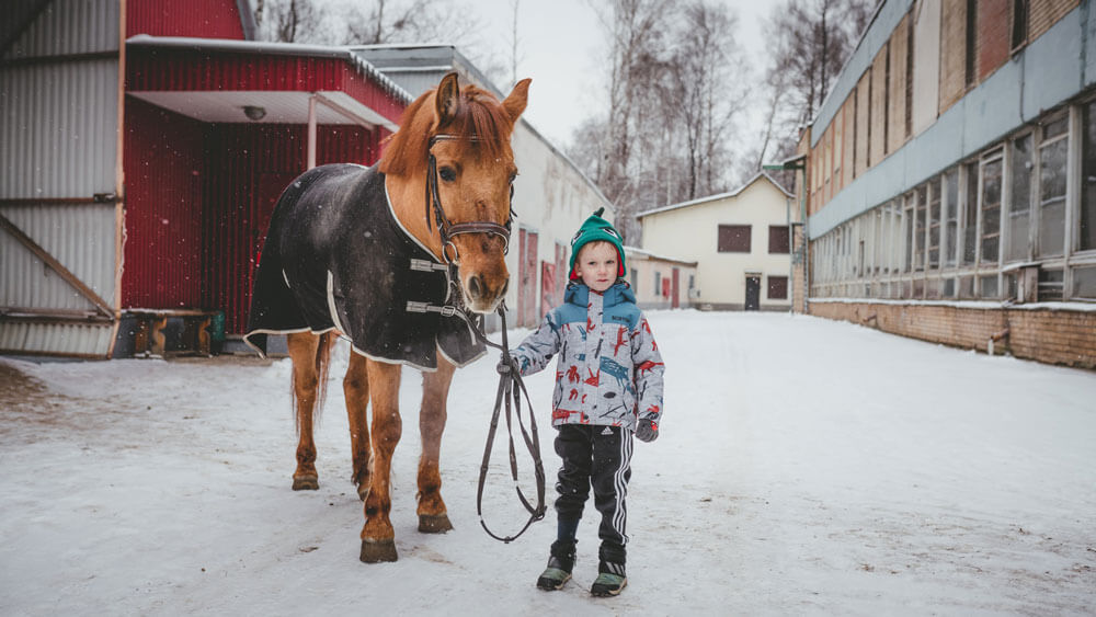little boy is holding a blanketed horse
