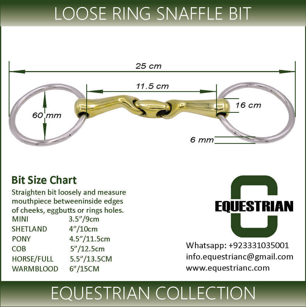 loose ring snaffle bit size chart