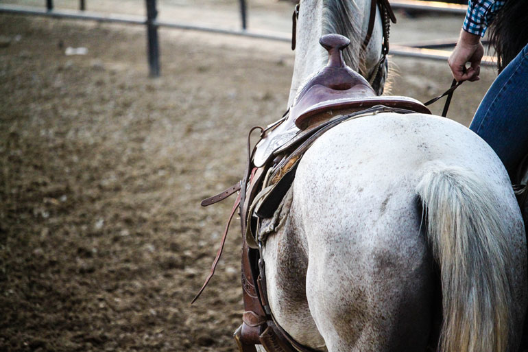 man is leading a horse with Western saddle