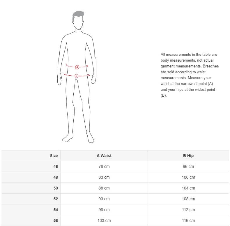 men horse breeches size chart