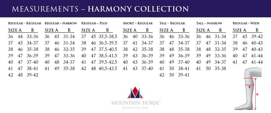 mountain horse harmony size chart