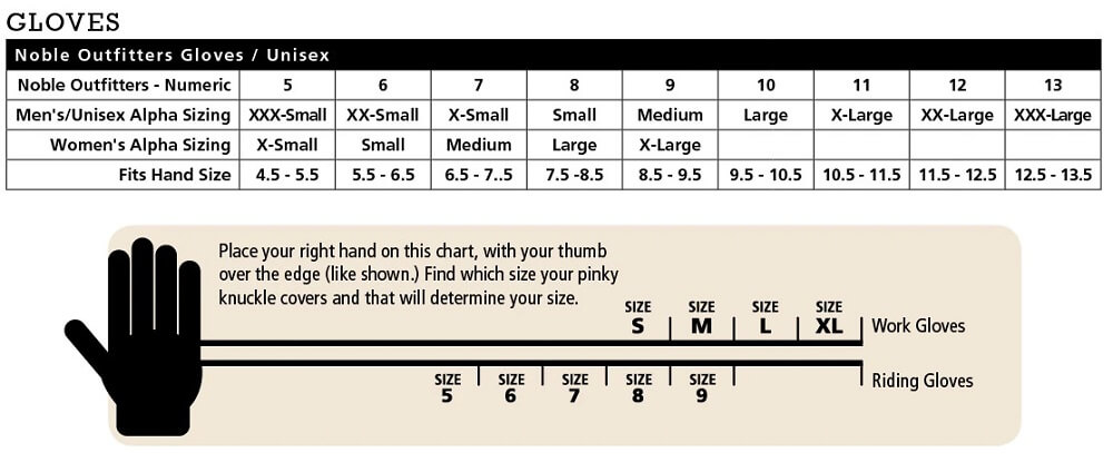 noble equestrian size chart