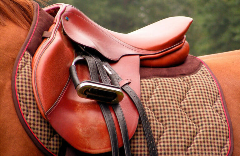 red leather english saddle with stirrups
