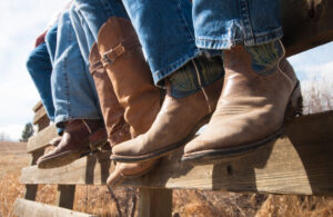 three pairs of cowboy boots