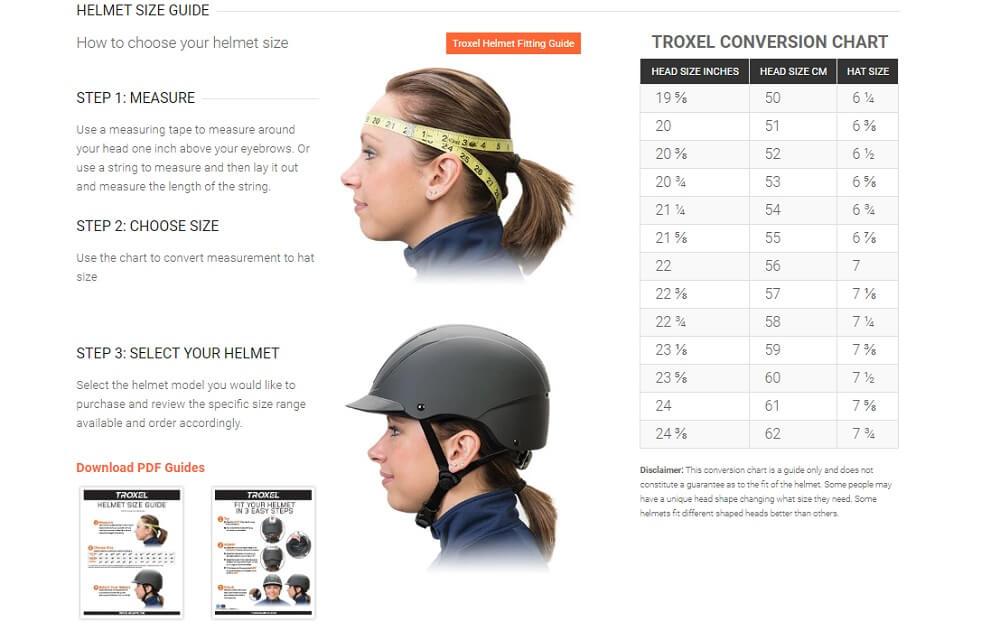troxel helmet size chart