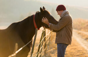 young man touching his horse